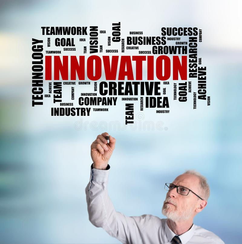 Businessman drawing innovation word cloud concept. Innovation word cloud concept drawn by a businessman stock photo
