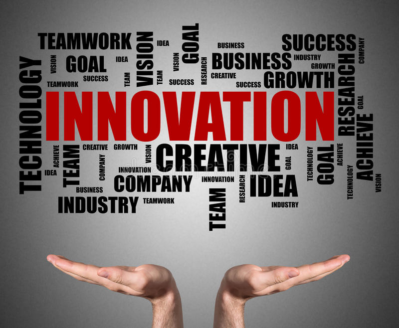 Innovation word cloud concept sustained by open hands stock photos