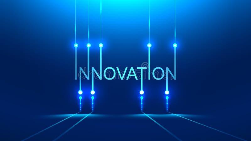 Innovation word. technology metaphor or concept banner title. Blue background. royalty free illustration