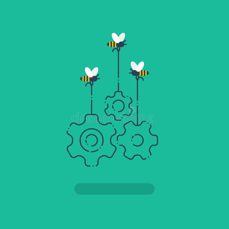 Innovationidéer, samarbetsprojekt, arbetar tillsammans begreppet, öppen källa stock illustrationer