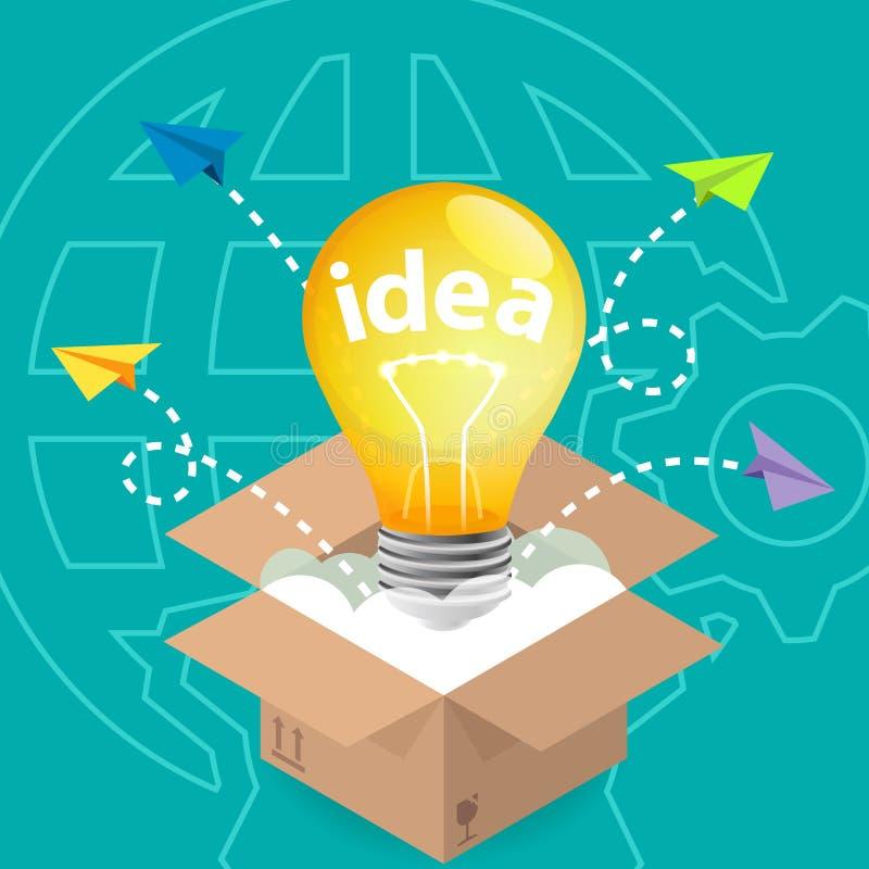 Innovationidéfunderare utanför asken royaltyfri illustrationer