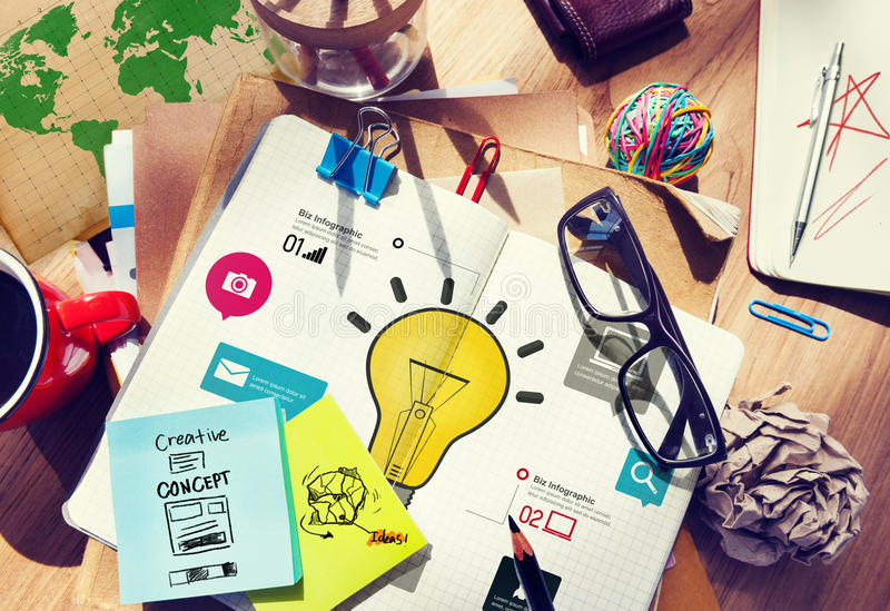 Innovations-Konzept Ideen-Inspirations-Kreativitäts-Geschäfte Infographic stockfotos