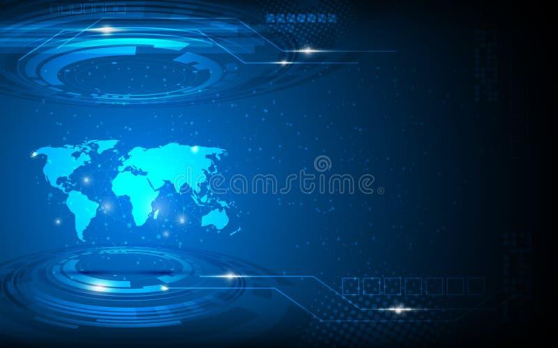 Innovations-Konzepthintergrund der abstrakten Weltkarte des Vektors High-Techer stock abbildung