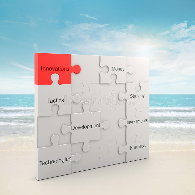 Innovations puzzle concept stock photo