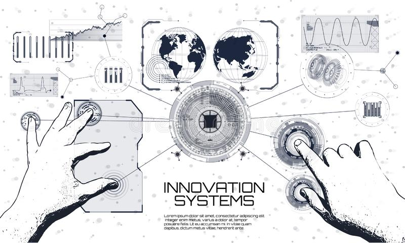 Innovations systems connecting people and robots devices stock illustration