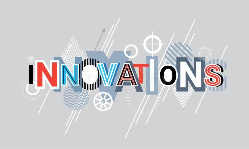 Innovations-Technologie-kreatives Wort über abstrakter geometrischer Form-Hintergrund-Netz-Fahne stock abbildung