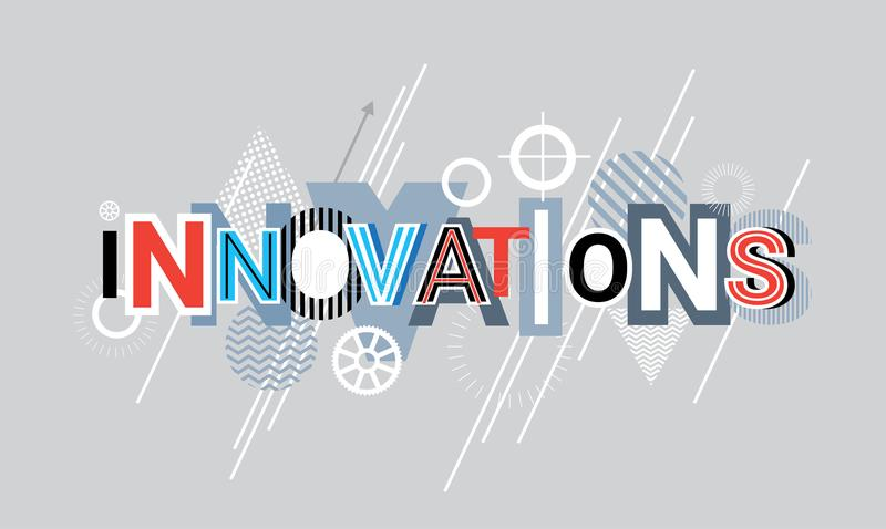 Innovations Technology Creative Word Over Abstract Geometric Shapes Background Web Banner stock illustration