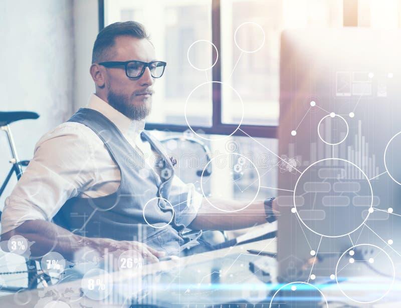 Innovations virtuelles Reserch d'interface de graphique de diagramme d'icône de stratégie globale de concept Homme d'affaires bar image libre de droits