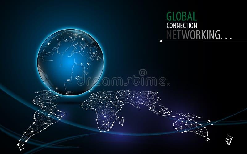 Innovationstechnologietechnologie-Hintergrunddesign des abstrakten Netzes globales lizenzfreie abbildung