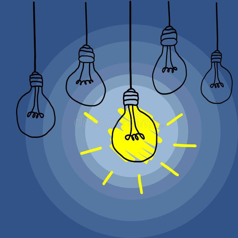 Innovativ affärsidé med en enkla ljusa Bulp i ett mörkt rum stock illustrationer