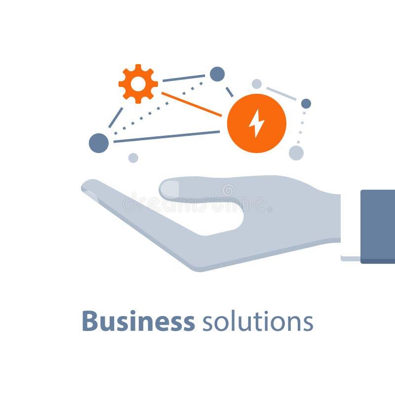 Innovativ teknologi, affärslösningar, startar upp begreppet, marknadsföringsstrategi, systemutveckling royaltyfri illustrationer
