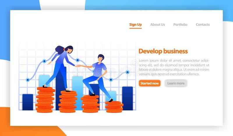 Innovativa idéer för affärslösning, investering Finansiellt diagram för strategidiagramgraf Teamwork, i att uppnå vinster, karriä vektor illustrationer