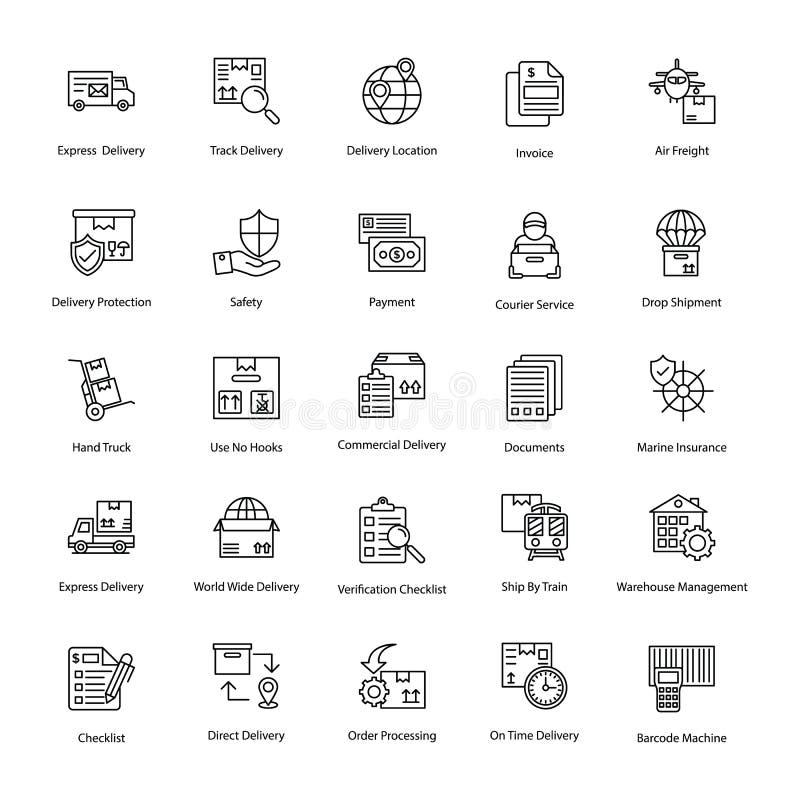 Innovativa logistikleveranssymboler royaltyfri illustrationer