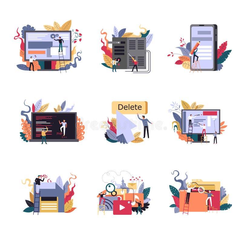 Innovativa metoder för internetteknologier av jobbet som kodifierar och programmerar stock illustrationer