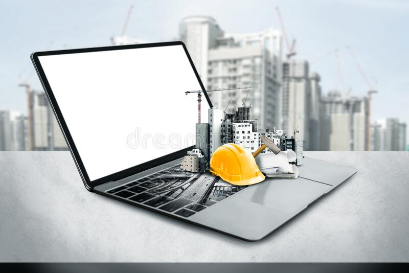 Innovative architecture and civil engineering plan. Innovative architecture and civil engineering building construction project. Creative graphic design showing stock photo