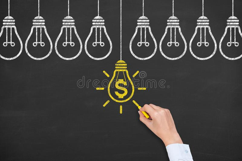 Innovative idea finance solution concepts on blackboard background stock image