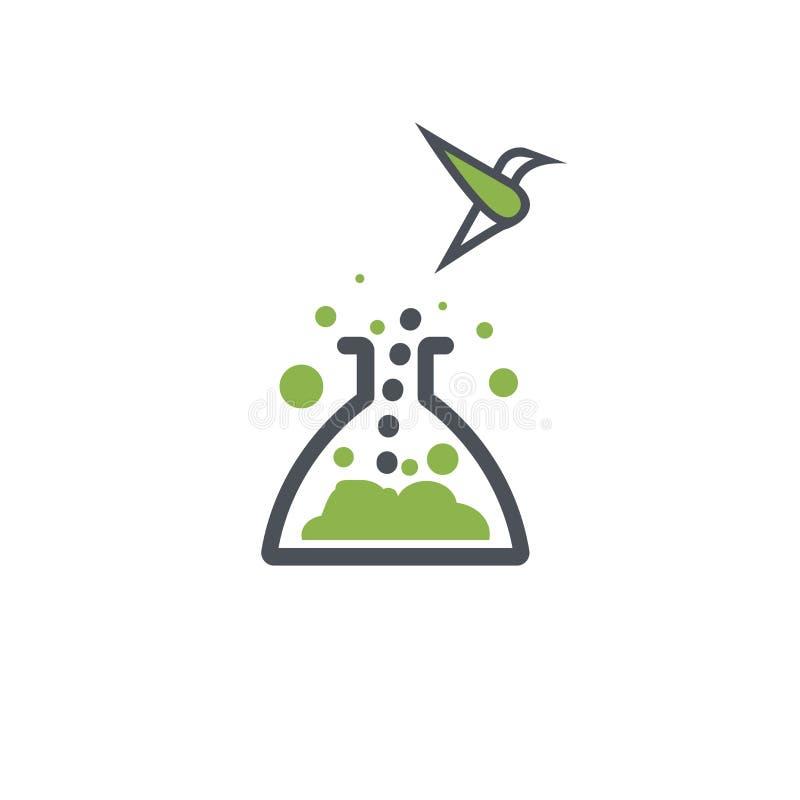 Innovative logo. The bird flies out of the beaker. Development innovation. Chemical Flask Vector Design. Science vector illustration
