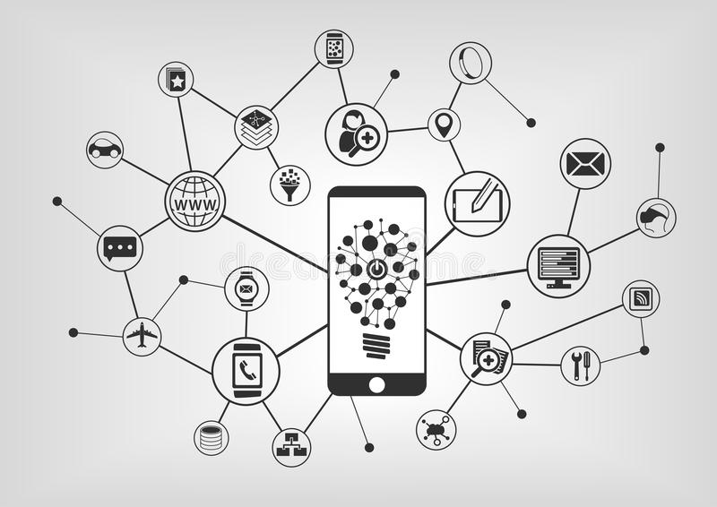 Innovative mobile technology. Smart phone connecting to mobile devices. Vector illustration with IT icons royalty free illustration