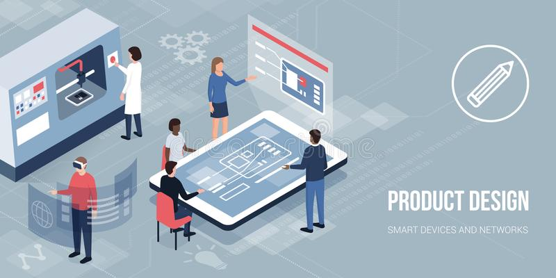 Innovative product design and prototyping. Engineers and designers working on a new product, accessing virtual reality and printing with a 3D printer: innovative stock illustration