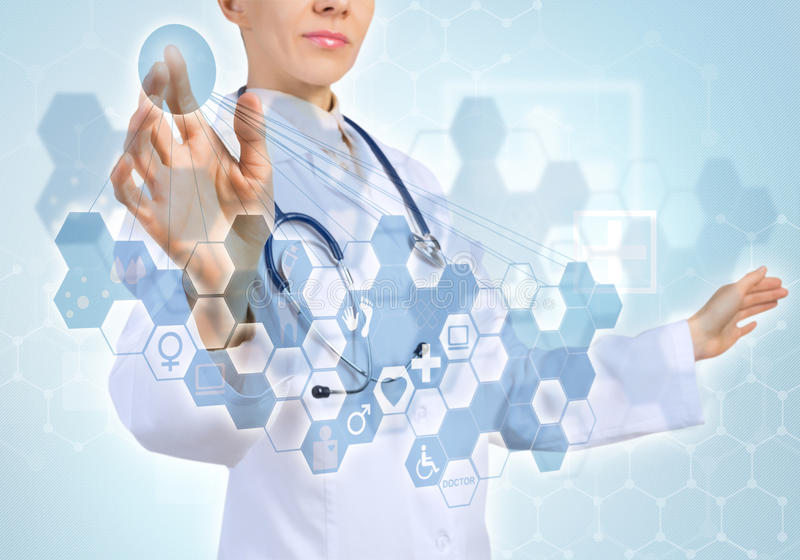 Innovative technologies in medicine. Young female doctor touching icon of media screen stock illustration