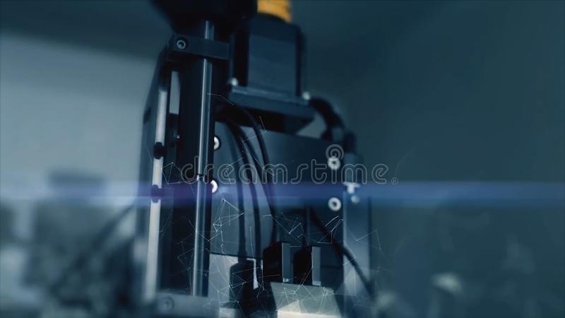 Innovative technologies in science and medicine. Hi-tech microscope. Mixed media. Optical devices. super-tech microscope stock photography