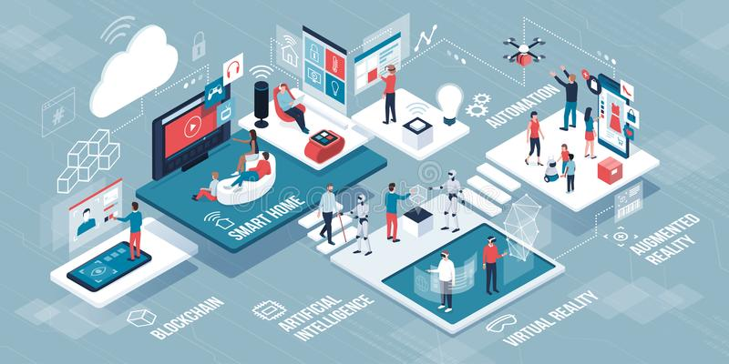 Innovative technology and lifestyle infographic stock illustration