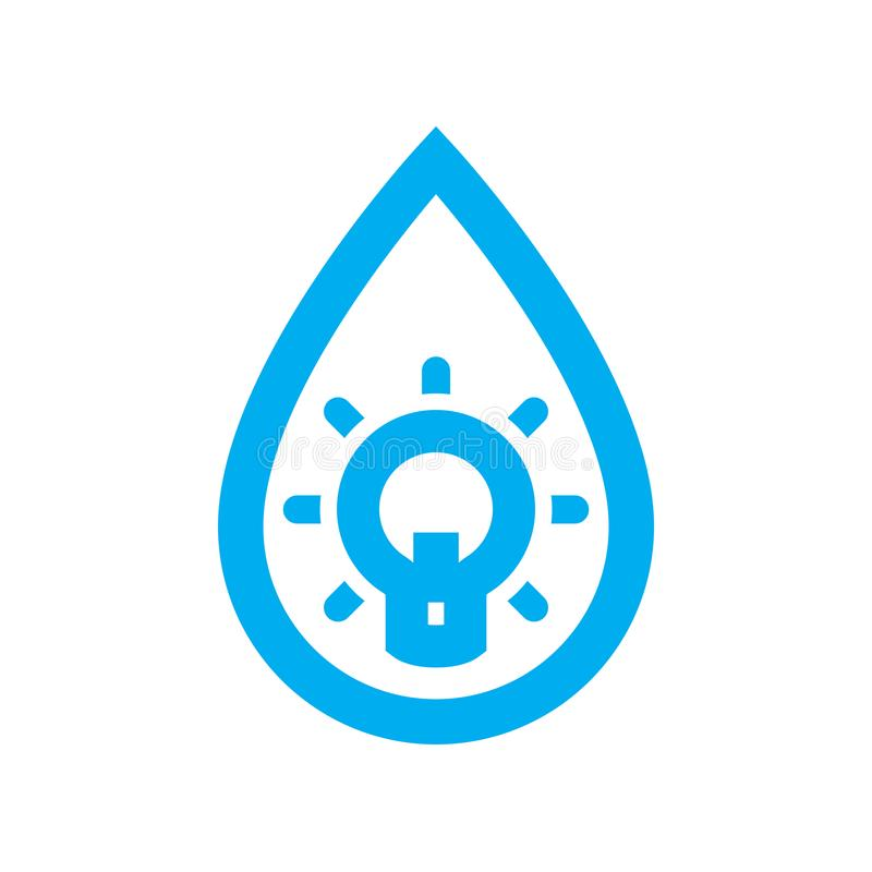 Innovative water use icon. Blue lightbulb in water drop symbol royalty free illustration
