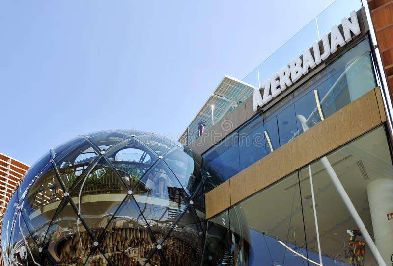 Innovativer Aserbaidschan-Pavillon an der Ausstellung, Universalausstellung auf dem Thema des Lebensmittels in Mailand, Italien lizenzfreie stockbilder