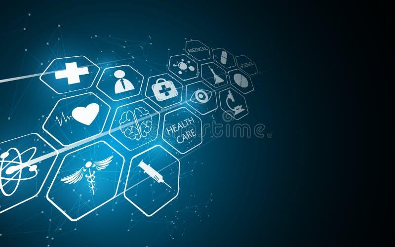 Innovativer Konzepthintergrund des abstrakten medizinischen Apothekengesundheitswesens lizenzfreie abbildung
