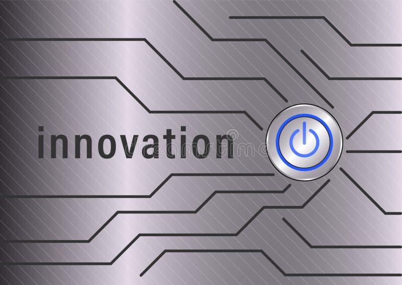 innovazione Bottone di potere e linea poligonale sul fondo del metallo illustrazione di stock