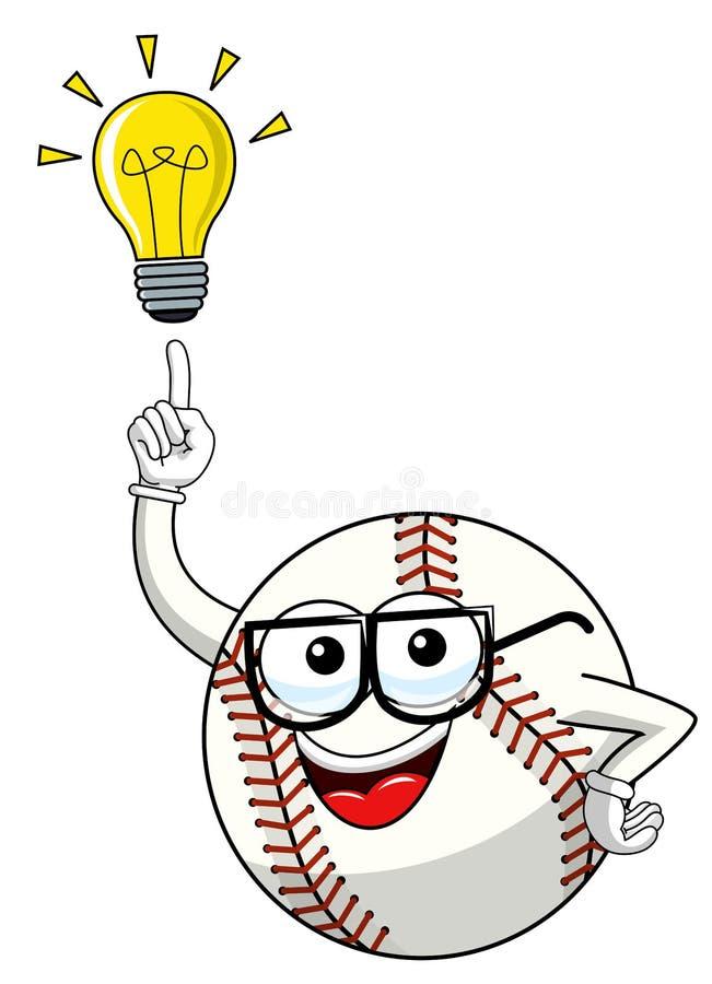 Innovazione di idea della lampadina di vettore del fumetto della mascotte del carattere della palla di baseball isolata illustrazione di stock