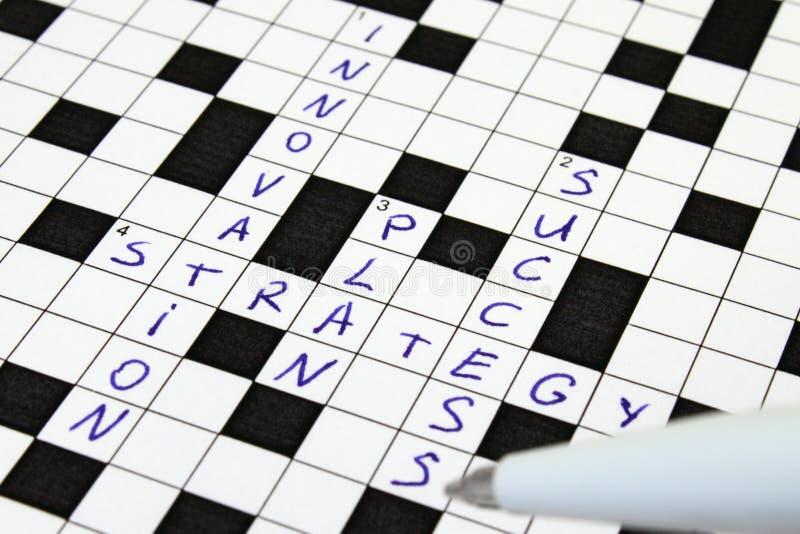Innovazione, strategia, programma, parole incrociate di successo immagini stock libere da diritti
