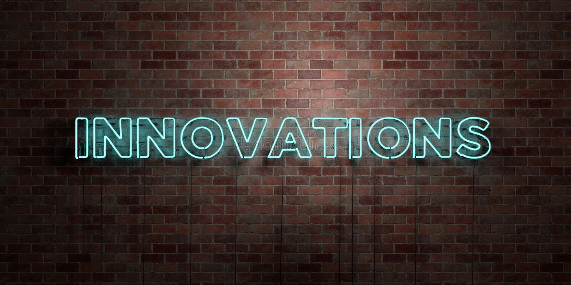 INNOVAZIONI - segno fluorescente del tubo al neon su muratura - vista frontale - 3D ha reso l'immagine di riserva libera della so royalty illustrazione gratis