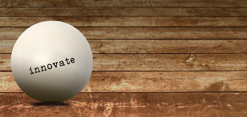 Innove en la bola blanca de la palabra del negocio imágenes de archivo libres de regalías