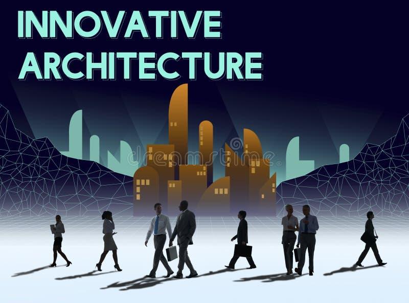 Innovent le concept innovateur de structure de gratte-ciel d'architecture illustration libre de droits