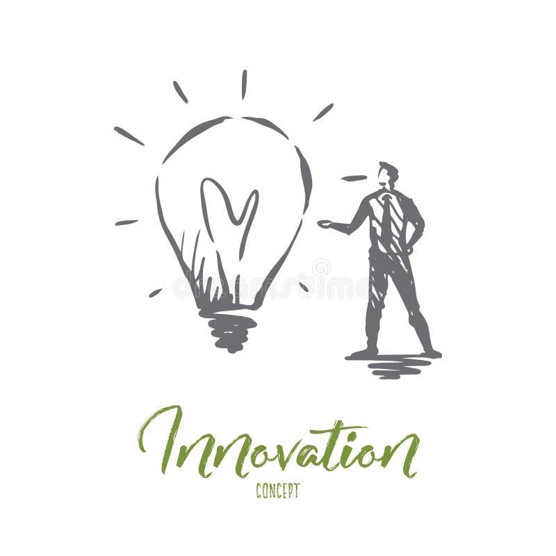 Innowacja, pomysł, technologia, żarówka, kreatywnie pojęcie Ręka rysujący odosobniony wektor ilustracja wektor