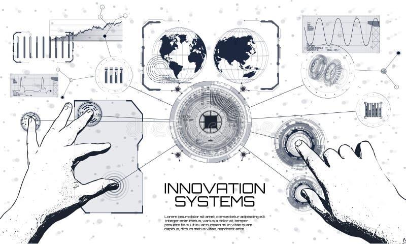Innowacja systemów złączeni ludzie i robotów przyrząda ilustracji
