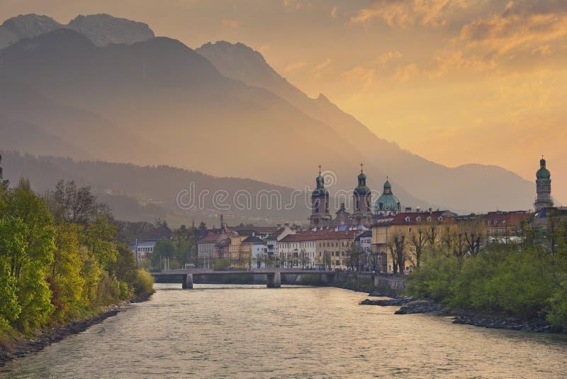 Innsbruck. Image of Innsbruck, Austria during dramatic sunrise stock photo