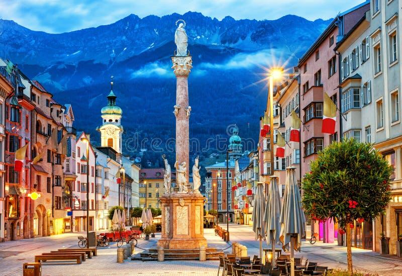 Innsbruck Old town, Tyrol, Österrike royaltyfria bilder
