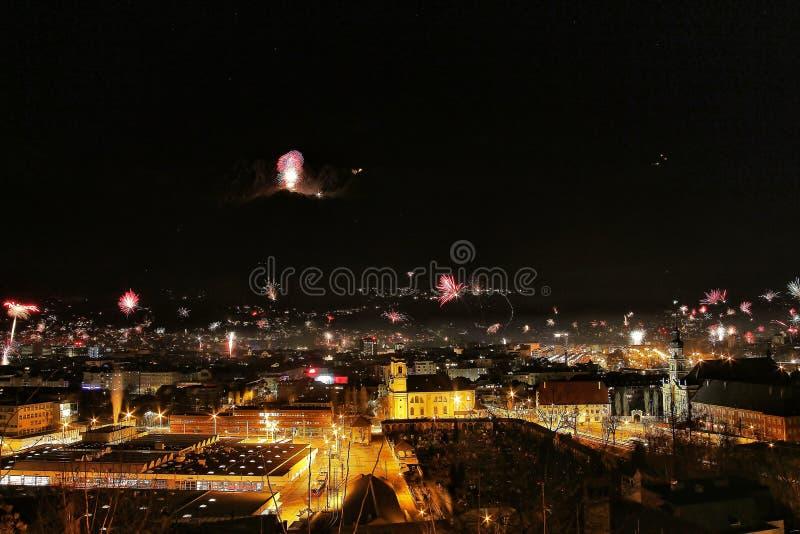 Innsbruck przy nocą fotografia royalty free