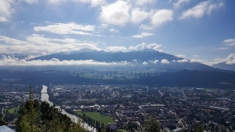 Innsbruck, Tirol/Austria - September 21st 2017: View on Innsbruck from mountain station Hungerburg royalty free stock images