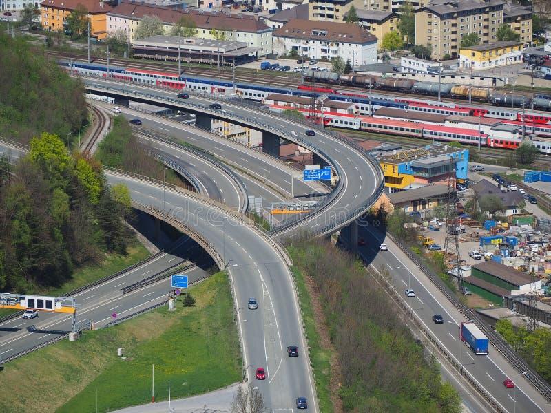 Innsbuck, Áustria Interseção da estrada imagens de stock