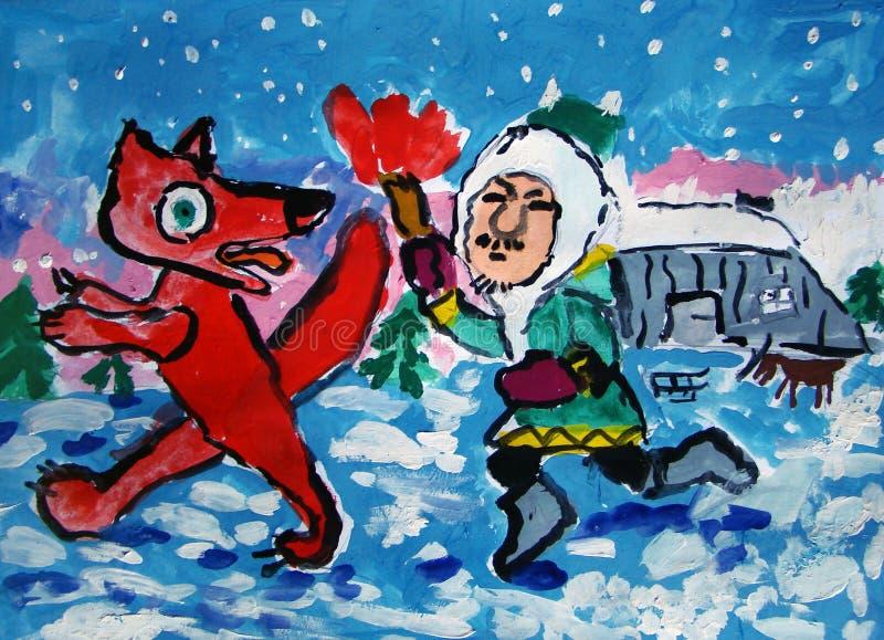 Innuit goni lisa malującego dzieckiem ilustracji