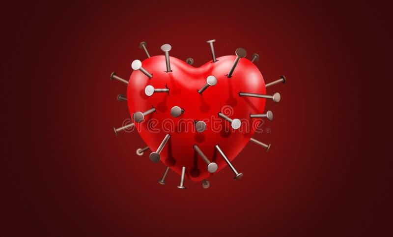 Inny gwóźdź w mój sercu Wiele gwoździe w sercu z bólem, stroskaniem, smuceniem, cierpieniem, znęcaniem się i stratami, royalty ilustracja