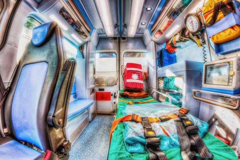 Inom ambulansen HDR version fotografering för bildbyråer