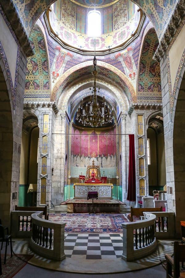 Inom av den armeniska domkyrkan av Lviv, Ukraina arkivfoto