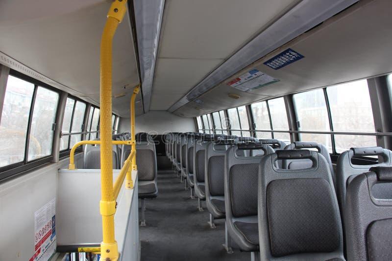 Inom av en tom buss royaltyfri fotografi