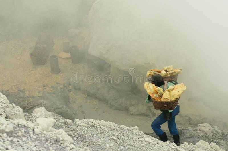 Inom av krater av vulkan i Indonesien royaltyfri bild