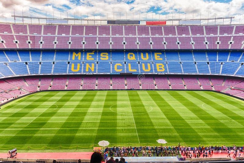 Inom Camp Nou hem- stadion av FCet Barcelona, Catalonia, Spanien arkivbilder