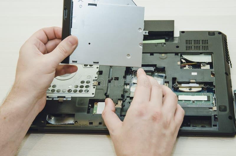 Inom datoren Elektroniska delar av bärbara datorn royaltyfria bilder
